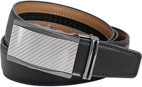 """Marino Men's Genuine Leather Ratchet Dress Belt with Automatic Buckle, Enclosed in an Elegant Gift Box - Gunblack Silver Custom: Up to 44"""" Waist"""