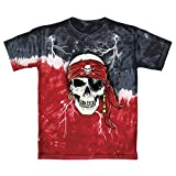 Pirate Skull Glow In The Dark Tie-Dye Youth Tee Shirt (Medium 8/10)