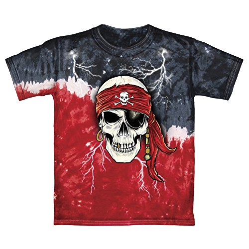 Pirate Skull Glow in The Dark Tie-Dye Adult Tee Shirt (Adult Medium) Red and Black