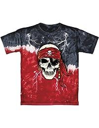 Pirate Skull Glow In The Dark Tie-Dye Youth Tee Shirt