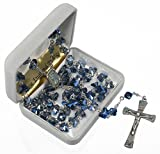 """Eternal Classic Rhodium-Plated Brass 8mm Blue Butterfly Pewter Rosary, 24.5"""""""