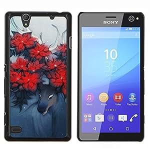 YiPhone /// Prima de resorte delgada de la cubierta del caso de Shell Armor - Ciervos Arte Cuernos Bosque Flores Rojo - Sony Xperia C4