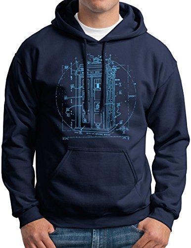 Vitruvian Police Box Doctor Hoodie Sweatshirt Navy L -