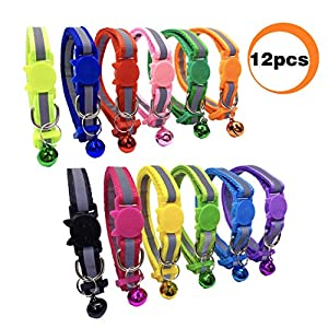 PACCOMFET 12 Pcs Breakaway Cat Collar Nylon Reflective Cat Collar with Bell, Multicolor, Safe and Durable 19