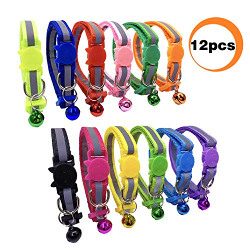 PACCOMFET 12 Pcs Breakaway Cat Collar Nylon Reflective Cat Collar with Bell, Multicolor, Safe and Durable