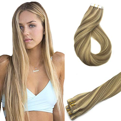 (Googoo 20inch Tape in Hair Extensions Ombre Honey Blonde Highlighted Golden Blonde Remy Human Hair Extensions Tape in Silky Straight 20pcs)