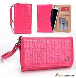 Acer Liquid Gallant E350 Mobile Phone Case   Universal Wristlet Women's Wallet Clutch [DIVA] - PINK CROC. Bonus...