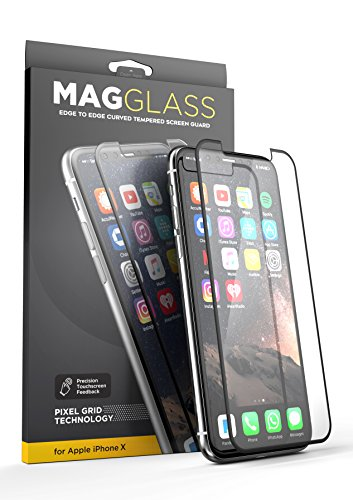 [Case compatible] iPhone X Tempered Glass Screen Protector, MagGLASS XT90 Reinforced Screen Guard w/ Pixel Grid Technology (Scratchproof / Shatterproof) (Includes Precision Applicator)