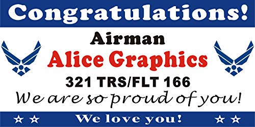 [Vinyl] Alice Graphics 2ftX4ft Custom Personalized Congratulations Airman US Air Force Basic Military Training (BMT) Graduation Banner Sign or Welcome Home Banner (2 USAF Logos) ()