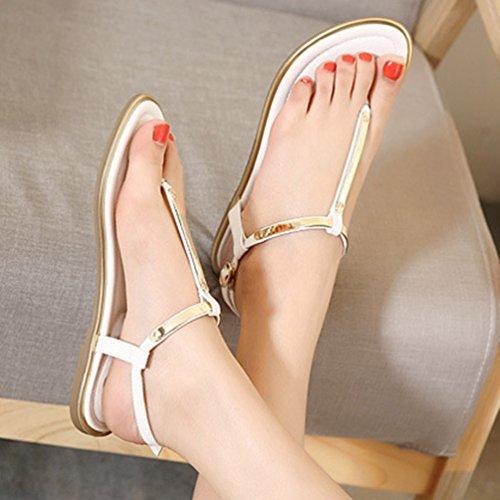 Sandale Plates Cheville Jitian Métallique Sandales Bride Toe Clip Ouvertes Mode Femme Chaussures Blanc Pour qT1TvUSw