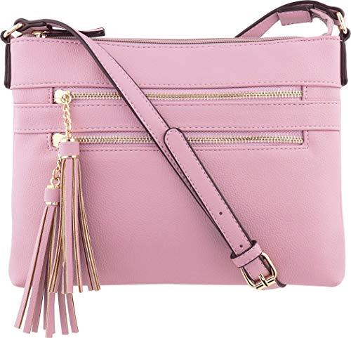 (B BRENTANO Vegan Multi-Zipper Crossbody Handbag Purse with Tassel Accents (Lavender))
