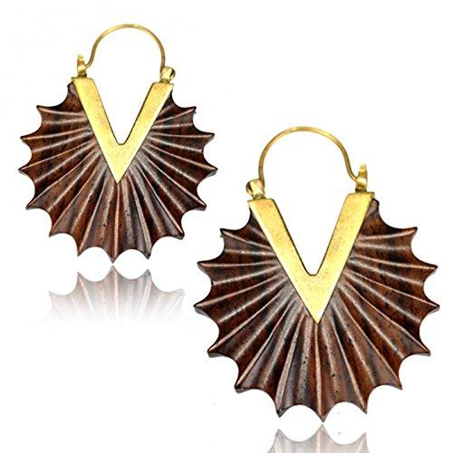 Chic-Net pendientes de bronce antiguos Narraholz bandejas de latón dorado