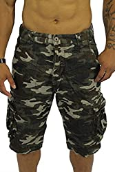 Worior Men's Soft Cotton Camo Cargo Shorts (30)