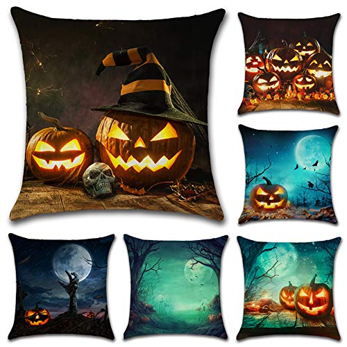 AKPOWER Happy Halloween Pillow Covers Cotton Linen Burlap Throw Pillows Decorative Pumpkin Square Cushion Cover 18 x 18 inches Set of 6 ()