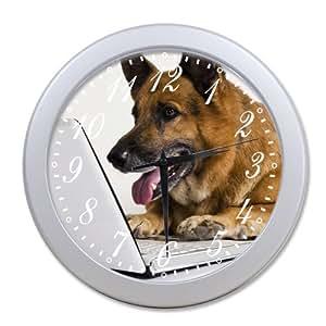 Home Decoration Living Room Decal Wall Clock Black German Shepherd Cool Dog Human