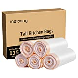Trash Bags, Meidong Garbage Bags 13 Gallon Large Tall Kitchen Drawstring Strong Bags for Trash Can Garbage Bin(5 Rolls/115 Counts)