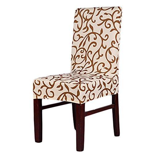 Lianle Modische Strech Dining Chair Bezug waschbar Stuhl-Abdeckung für Hotel, Haus Dekoration, Hochzeitsessen(ChampagneCoffee)