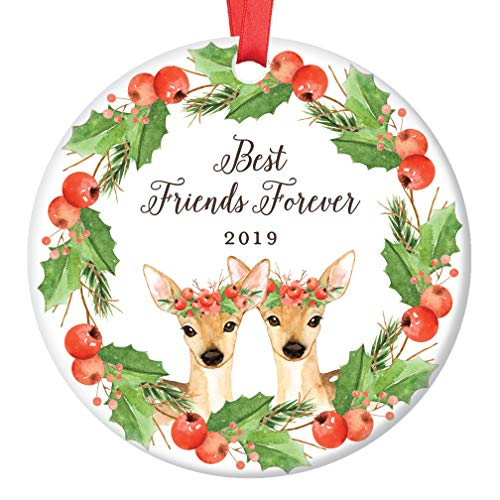 Best Friends Deer Christmas Ornament 2019, Friendship Forever Xmas Present for BFF Bestie Soul Sisters Doe Floral Wreath Ceramic Porcelain Keepsake 3