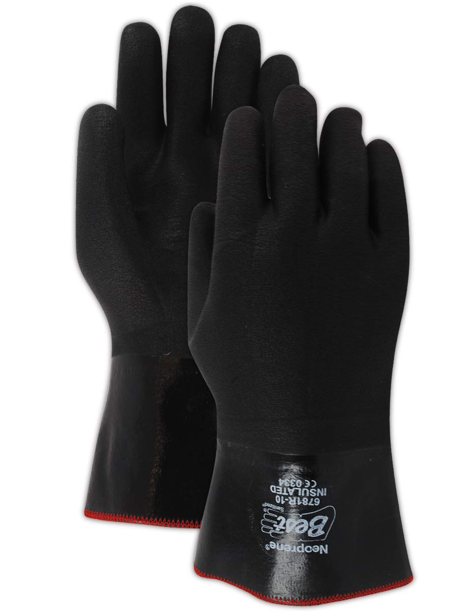 SHOWA 6781R-10 Insulated Fully-Coated Cotton Jersey Neoprene Glove, Triple Layered Foam Insulation, Chemical Resistant, 12'' Gauntlet, Large (Pack of 12 Pairs) , Black