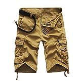 Willsa Mens Cargo Shorts, Mens Casual Pocket Beach Shorts,Outdoors Sports Short Trouser (36, Khaki)