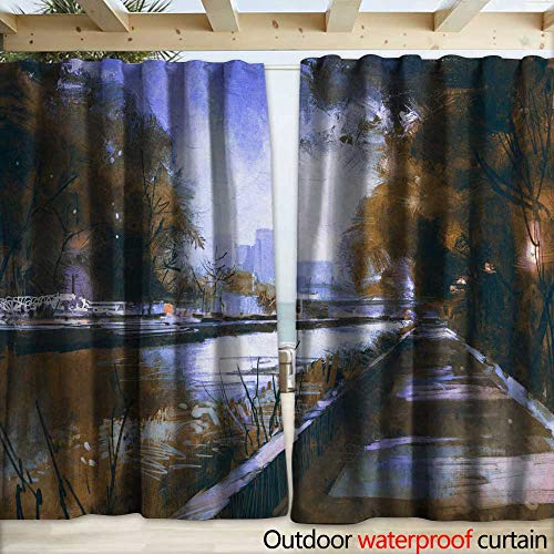 Grommet Curtain Panel Riverside Walkway in a Tranquil