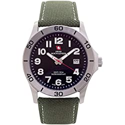Swiss Mountaineer Mens Swiss Watch Green Nylon Canvas Band Big Black Easy Read Dial Date Reloj SML8010