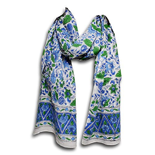 Women's Fashion Lightweight Long Big Floral Scarf Hand Block Print Wrap Soft 100% Cotton Neck Head Scarf Stole (72 x 15 inches, Blue Green)