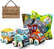 UNIH Pull-Back Vehicle Soft Baby Toys Tollders Plush Car Toy Set with Play Mat 1 Year Old Toys ( 4 Cars and Tr