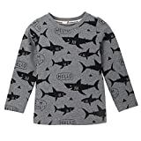 Webla Kids Children Baby Girls Boys Sharks Print Long Sleeve Tops T-Shirt Ages 1-6 Years (5-6T, Light Blue)