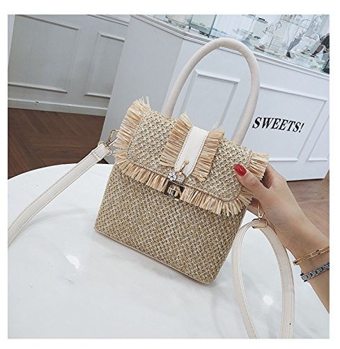 Lining Handbag Straw Shoulder Handle Soft Bag Leather PU Bags Womens Summer Ababalaya qZUxEPwX6U
