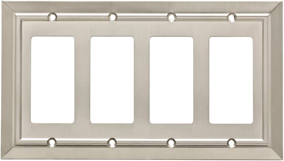 Franklin Brass W35228-SN-C Classic Architecture Quad Decorator Wall Plate/Switch Plate/Cover, Satin Nickel