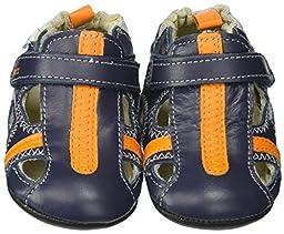 Robeez Rugged Rob Hard Sole Mini Shoe (Infant), Navy, 6-9 Months M US
