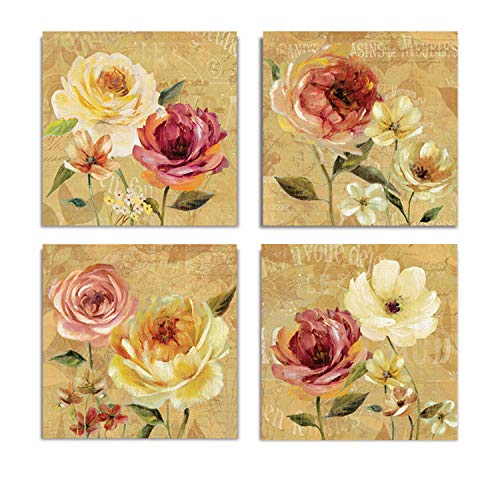 WEXFORD HOME French Country Garden Flower Spring Collection Canvas Print 4 Panels Set Décor for Home Office Wall Art, 12X12, Frameless