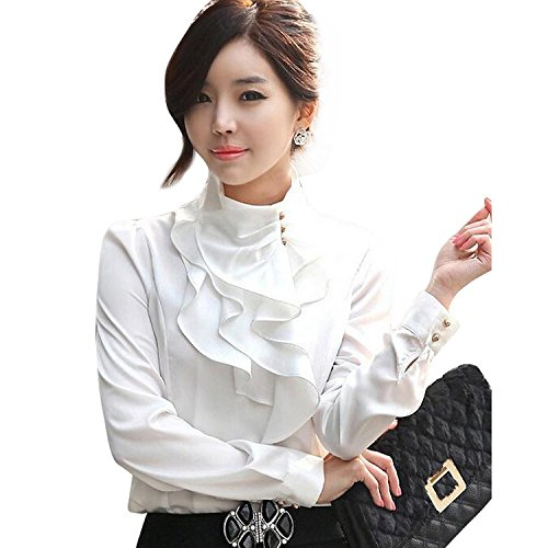 - Women's Lace Ruffle Neck Blouse Long Sleeve Stand Collar OL Shirt Tops White XL,White,X-Large