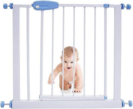 Leogreen - Puerta de Seguridad para Niños Perros Escaleras Barrera de Seguridad de metal, Extensible de 74 cm a 87 cm: Amazon.es: Bebé