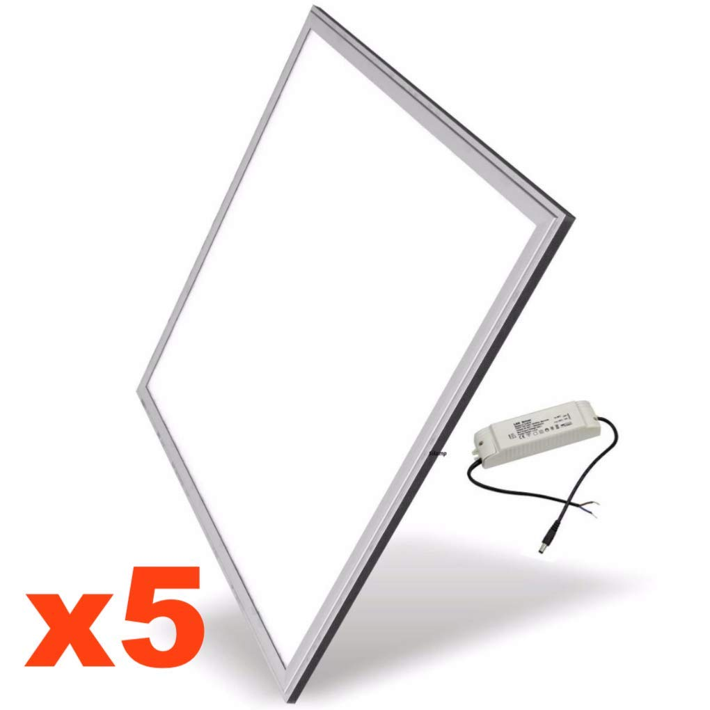 Silamp - Dalle LED 60x60 Slim 48W ALUMINIUM (Pack de 5) - couleur eclairage : Blanc Froid 6000K - 8000K