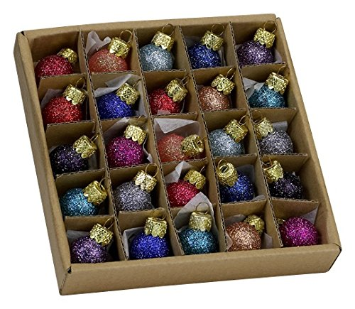 Kurt Adler .78 Glitter Glass Ball Ornaments - 25 Pieces #C1962 by Kurt Adler (Glass Christmas Ornament Set)