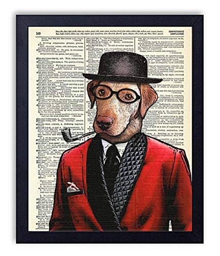 Dog Father In Smoking Jacket Vintage Wall Art Upcycled Dictionary Art Print Poster 8x10 inches, Unframed