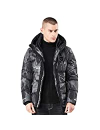 liliko Men's Winter Puffer Coats Fur Hooded Thick Cotton-Padded Warm Down Jacket