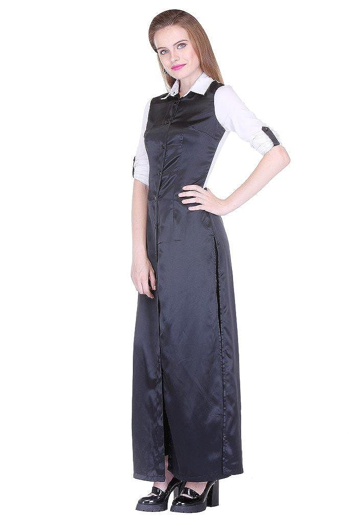 Zastraa Womens White Satin Shirt Dress