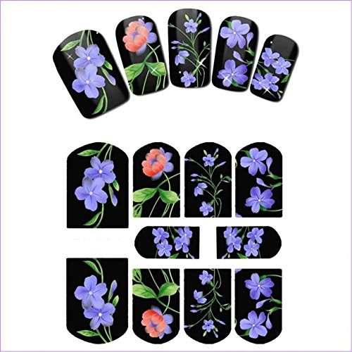 - 1 Pcs Flower Leaf Tulip Bell Nail Art Foil Glitter Predilection Popular Nails Stickers Decal Transparent Designs Women Tips Stars Christmas Decoration, Type-03