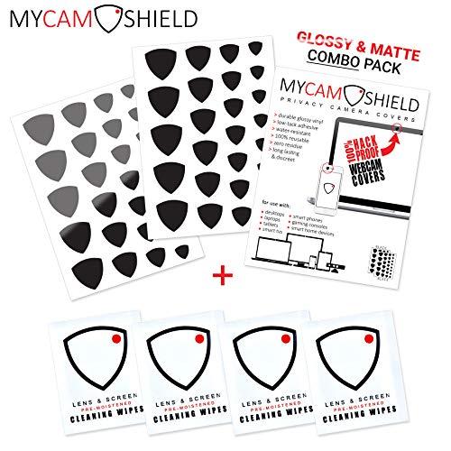 MyCamShield   Black (Glossy & Matte)   52 Vinyl Webcam/Camera Covers   Removable/Reusable   for Laptops, Desktops…