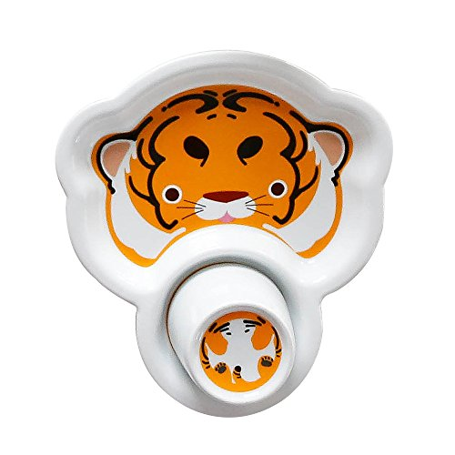 Tiger Pattern Plate (Cute Cartoon Bone China Kids Snack Plates, Breakfast Sets Tableware Baby Dishes with Cups for Kids, Tiger pattern Design)