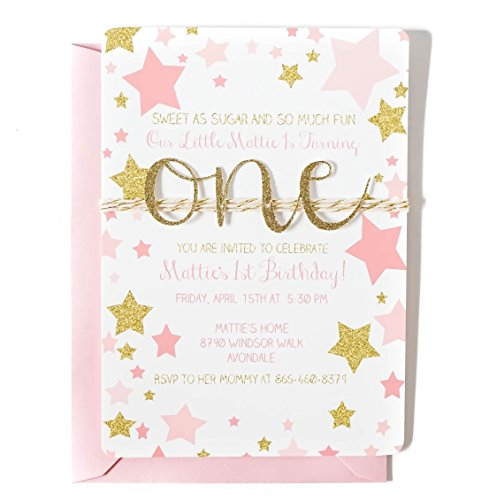 Custom First birthday invitation for girl, Pink and