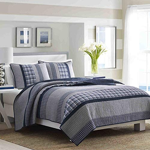 Nautica Home | Adleson Collection | 100% Cotton Reversible and Light-Weight Quilt Bedspread Pre-Washed for Extra Comfort Easy Care Machine Washable Full/Queen Blue/Grey
