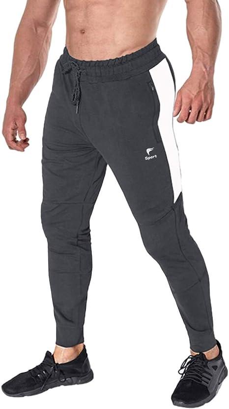 EKLENTSON - Pantalones de chándal para Hombre, de algodón, con Bolsillos con Cremallera, Hombre, Gris Oscuro, 40: Amazon.es: Deportes y aire libre