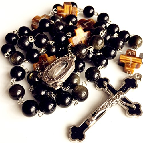 elegantmedical Handmade Catholic Black 10MM Gold Obsidian Beads Lourdes Water Medal Rosary Cross Necklace Box Mens Womens Gift