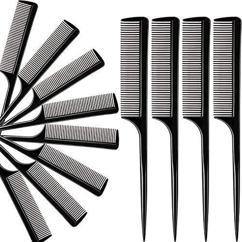 12 Pack Tail Comb Black Styling Comb Carbon Fiber Anti Static Heat Resistant Tail Comb for All Hair Types, Fine and Wide Tooth Teasing Comb for Men and Women