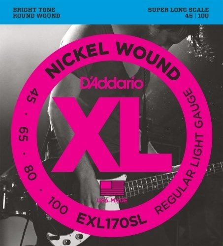 D'Addario EXL170SLx2  Electric Bass Guitar Strings, XL Nicke