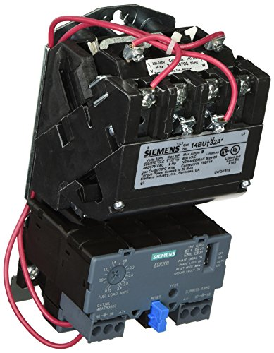 Siemens 14BUB32AG Heavy Duty Motor Starter, Solid State Overload, Auto/Manual Reset, Open Type, Standard Width Enclosure, 3 Phase, 3 Pole, 00 NEMA Size, 0.75-3.4A Amp Range, A Frame Size, 220-240 at 60Hz Coil Voltage